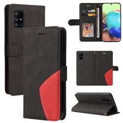 Luxury Two-color Stitching Leather Wallet Case Cover for Samsung Galaxy A71 5G - Black