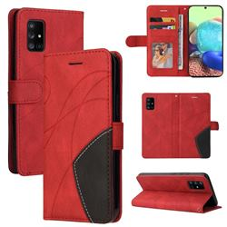 Luxury Two-color Stitching Leather Wallet Case Cover for Samsung Galaxy A71 5G - Red