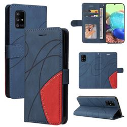 Luxury Two-color Stitching Leather Wallet Case Cover for Samsung Galaxy A71 5G - Blue