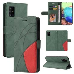 Luxury Two-color Stitching Leather Wallet Case Cover for Samsung Galaxy A71 5G - Green
