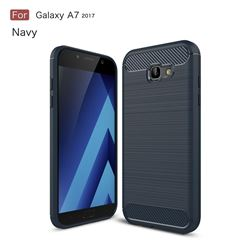 Luxury Carbon Fiber Brushed Wire Drawing Silicone TPU Back Cover for Samsung Galaxy A7 2017 A720 (Navy)
