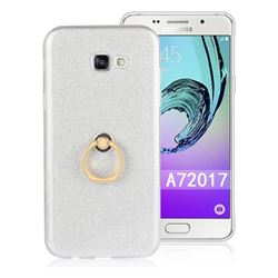 Luxury Soft TPU Glitter Back Ring Cover with 360 Rotate Finger Holder Buckle for Samsung Galaxy A7 2017 A720 - White