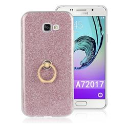 Luxury Soft TPU Glitter Back Ring Cover with 360 Rotate Finger Holder Buckle for Samsung Galaxy A7 2017 A720 - Pink