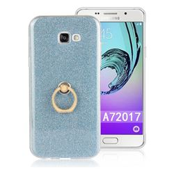 Luxury Soft TPU Glitter Back Ring Cover with 360 Rotate Finger Holder Buckle for Samsung Galaxy A7 2017 A720 - Blue