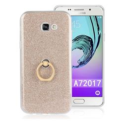 Luxury Soft TPU Glitter Back Ring Cover with 360 Rotate Finger Holder Buckle for Samsung Galaxy A7 2017 A720 - Golden