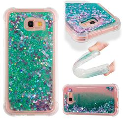 Dynamic Liquid Glitter Sand Quicksand TPU Case for Samsung Galaxy A7 2017 A720 - Green Love Heart