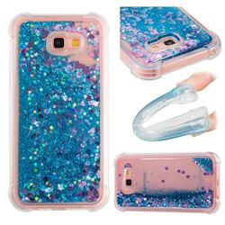 Dynamic Liquid Glitter Sand Quicksand TPU Case for Samsung Galaxy A7 2017 A720 - Blue Love Heart
