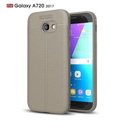 Luxury Auto Focus Litchi Texture Silicone TPU Back Cover for Samsung Galaxy A7 2017 A720 - Gray