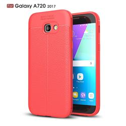 Luxury Auto Focus Litchi Texture Silicone TPU Back Cover for Samsung Galaxy A7 2017 A720 - Red