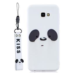 White Feather Panda Soft Kiss Candy Hand Strap Silicone Case for Samsung Galaxy A7 2017 A720