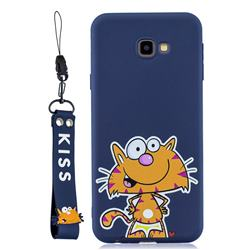 Blue Cute Cat Soft Kiss Candy Hand Strap Silicone Case for Samsung Galaxy A7 2017 A720