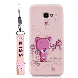 Pink Flower Bear Soft Kiss Candy Hand Strap Silicone Case for Samsung Galaxy A7 2017 A720