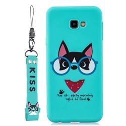 Green Glasses Dog Soft Kiss Candy Hand Strap Silicone Case for Samsung Galaxy A7 2017 A720