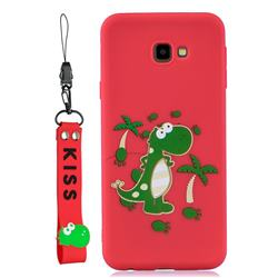 Red Dinosaur Soft Kiss Candy Hand Strap Silicone Case for Samsung Galaxy A7 2017 A720