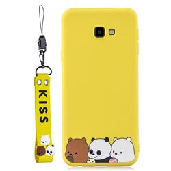 Yellow Bear Family Soft Kiss Candy Hand Strap Silicone Case for Samsung Galaxy A7 2017 A720