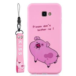 Pink Cute Pig Soft Kiss Candy Hand Strap Silicone Case for Samsung Galaxy A7 2017 A720