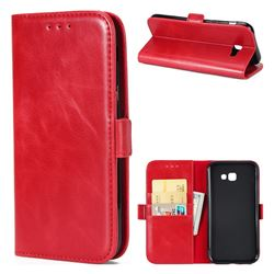 Luxury Crazy Horse PU Leather Wallet Case for Samsung Galaxy A7 2017 A720 - Red