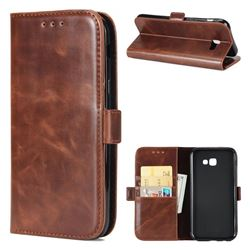 Luxury Crazy Horse PU Leather Wallet Case for Samsung Galaxy A7 2017 A720 - Coffee
