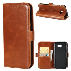 Luxury Crazy Horse PU Leather Wallet Case for Samsung Galaxy A7 2017 A720 - Brown