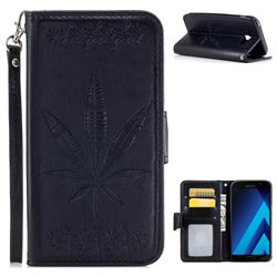 Intricate Embossing Maple Leather Wallet Case for Samsung Galaxy A7 2017 A720 - Black