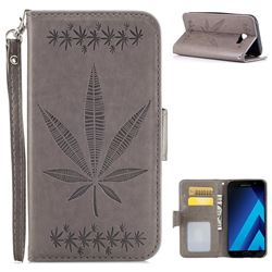 Intricate Embossing Maple Leather Wallet Case for Samsung Galaxy A7 2017 A720 - Gray