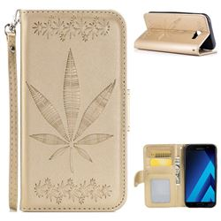 Intricate Embossing Maple Leather Wallet Case for Samsung Galaxy A7 2017 A720 - Champagne