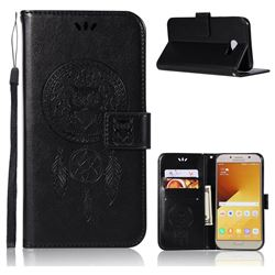 Intricate Embossing Owl Campanula Leather Wallet Case for Samsung Galaxy A7 2017 A720 - Black