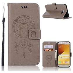 Intricate Embossing Owl Campanula Leather Wallet Case for Samsung Galaxy A7 2017 A720 - Grey