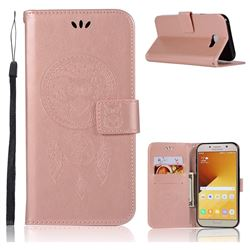 Intricate Embossing Owl Campanula Leather Wallet Case for Samsung Galaxy A7 2017 A720 - Rose Gold