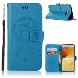 Intricate Embossing Owl Campanula Leather Wallet Case for Samsung Galaxy A7 2017 A720 - Blue