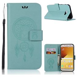 Intricate Embossing Owl Campanula Leather Wallet Case for Samsung Galaxy A7 2017 A720 - Green