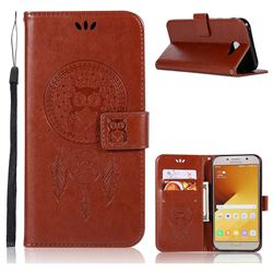 Intricate Embossing Owl Campanula Leather Wallet Case for Samsung Galaxy A7 2017 A720 - Brown