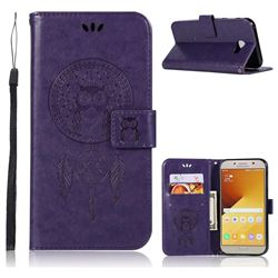 Intricate Embossing Owl Campanula Leather Wallet Case for Samsung Galaxy A7 2017 A720 - Purple
