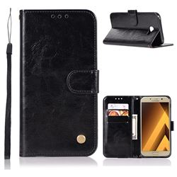 Luxury Retro Leather Wallet Case for Samsung Galaxy A7 2017 A720 - Black
