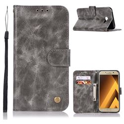 Luxury Retro Leather Wallet Case for Samsung Galaxy A7 2017 A720 - Gray