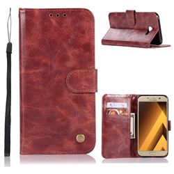 Luxury Retro Leather Wallet Case for Samsung Galaxy A7 2017 A720 - Wine Red