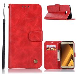 Luxury Retro Leather Wallet Case for Samsung Galaxy A7 2017 A720 - Red