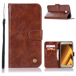 Luxury Retro Leather Wallet Case for Samsung Galaxy A7 2017 A720 - Brown