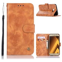 Luxury Retro Leather Wallet Case for Samsung Galaxy A7 2017 A720 - Golden