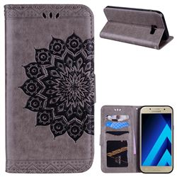 Datura Flowers Flash Powder Leather Wallet Holster Case for Samsung Galaxy A7 2017 A720 - Gray
