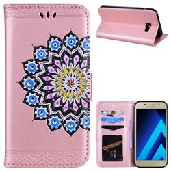 Datura Flowers Flash Powder Leather Wallet Holster Case for Samsung Galaxy A7 2017 A720 - Pink