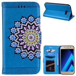 Datura Flowers Flash Powder Leather Wallet Holster Case for Samsung Galaxy A7 2017 A720 - Blue