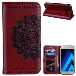 Datura Flowers Flash Powder Leather Wallet Holster Case for Samsung Galaxy A7 2017 A720 - Brown