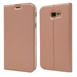 Ultra Slim Card Magnetic Automatic Suction Leather Wallet Case for Samsung Galaxy A7 2017 A720 - Rose Gold