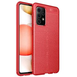 Luxury Auto Focus Litchi Texture Silicone TPU Back Cover for Samsung Galaxy A72 5G - Red