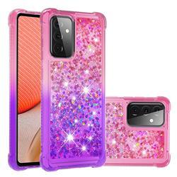 Rainbow Gradient Liquid Glitter Quicksand Sequins Phone Case for Samsung Galaxy A72 5G - Pink Purple