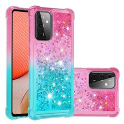 Rainbow Gradient Liquid Glitter Quicksand Sequins Phone Case for Samsung Galaxy A72 5G - Pink Blue