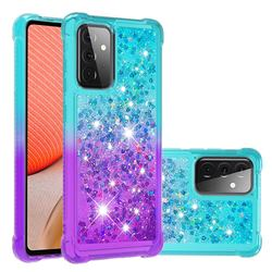 Rainbow Gradient Liquid Glitter Quicksand Sequins Phone Case for Samsung Galaxy A72 5G - Blue Purple