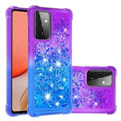 Rainbow Gradient Liquid Glitter Quicksand Sequins Phone Case for Samsung Galaxy A72 5G - Purple Blue