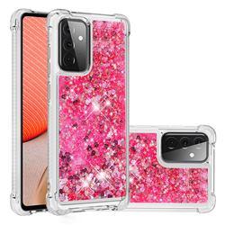 Dynamic Liquid Glitter Sand Quicksand TPU Case for Samsung Galaxy A72 (4G, 5G) - Pink Love Heart